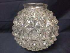 Vintage Midcentury Cut Glass Light Globe by FiveDogsVintage