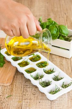 Freezing Herb and Edible Flower Tips by DIY Ready at  http://diyready.com/herb-ice-cube-tutorial/
