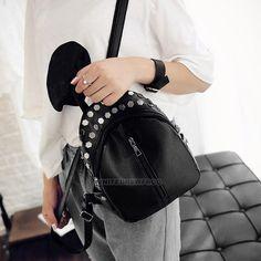 Women s Faux Leather Rucksack Rivet Mini Bookbag Small Casual Travel  Backpack b5bb38e574