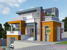 2318 square feet 2 bedroom cellar floor modern contemporary house plan by Rit designers, Kannur, Kerala. Duplex House Design, House Front Design, Modern House Design, North Facing House, House Elevation, Front Elevation, Indian House Plans, Studio Apartment Layout, House Design Pictures