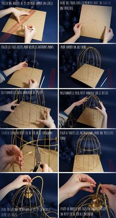Plenty of room for creativity with this. Maybe use copper wire?DIY Light in crystal foresthow to make your own wire light fixture - susan chapman - - how to make your own wire light fixture - susan chapmanFor caged crow in witch decorationsEven thou Wire Crafts, Diy And Crafts, Arts And Crafts, Wire Light Fixture, Light Fixtures, Diy Luz, Diy Luminaire, Creation Deco, Bird Cages