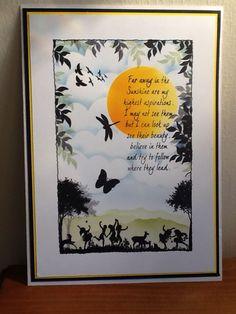 Clarity 'Meadowdance' & 'Tree Inkylicious sentiments stamp set & 'Birds' stamp set, Sheena Douglass 'A little bit scenic silhouette garden' stamp set Clarity Card, Sheena Douglass, Lavinia Stamps, Crafters Companion, Distress Ink, Handmade Cards, Card Ideas, Stencils, Card Making