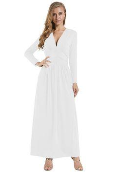 bc3e10df3ad White Vintage Long Sleeve Maxi Dresses Long Sleeve Maxi