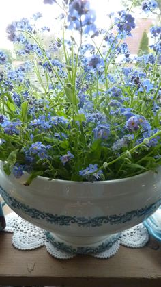 SEES brocante, tureen filled with forget-me-nots ~ seeshappyhome.blogspot.com