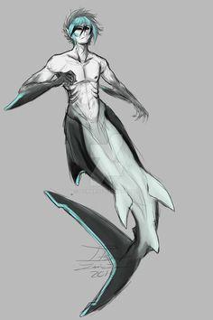 by itsmar Fantasy Character Design, Character Design Inspiration, Character Art, Mermaid Drawings, Mermaid Art, Shark Mermaid, Mythical Creatures Art, Fantasy Creatures, Creature Drawings