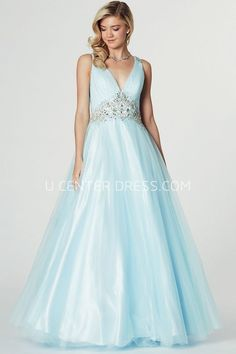 $122.19-Chick Sleeveless Ruched V-Neck Tulle Blue Beaded Evening Gown with Illusion Back. http://www.ucenterdress.com/a-line-sleeveless-ruched-v-neck-tulle-prom-dress-pMK_301661.html.  Shop for affordable evening gowns, prom dresses, white dresses, party dresses for women, little black dresses, long dresses, casual dresses, designer dresses, occasion dresses, formal gowns, cocktail dresses . We have great 2016 Evening Gowns on sale now. #evening #gowns