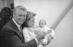 Cary Grant and his fourth wife Dyan Cannon pose for a photo with daughter Jennifer, 1966