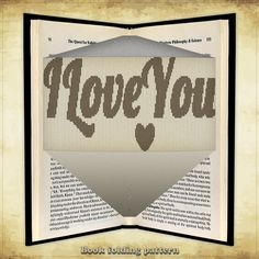 Book folding pattern I Love You for 271 folds - ID0489775