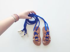 Charm Fabric Gladiators - Child Greek Summer Leather wrap up lace Sandals with tassels by KandElphy on Etsy https://www.etsy.com/listing/468774828/charm-fabric-gladiators-child-greek
