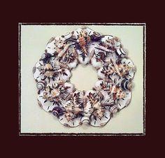 "Sea Shell Wall Wreath 12"" Endiva Murex Shells & Sand Dollars, Beach/Coastal/Nautical Decor, Wedding/Housewarming/Anniversary Gift"