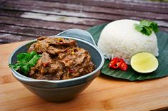 Wonderful Indonesian rendang recipe. Just replace the dead animal with a substitute!