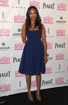 Zoe Saldana wore a Resort 2013 Preen dress at the Film Independent Spirit Awards nominations in Los Angeles.