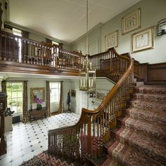 The entrance hall and staircase at Cannon Hall (Daphne du Maurier's childhood home)