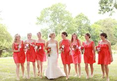 red bridesmaid dresses--same fabric and color, different styles makes this look polished! | photo by Red Gallery | 100 Layer Cake