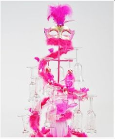 Spiral Mask decorated Toasting Glases Set - Quinceanera Style