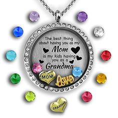 """Grandma Floating  Birthstone Charm Necklace - how sweet is the inscription """"The best thing about having you as my mom is my kids having you as a grandma"""" Locket Charms, Locket Necklace, Pendant Necklace, Necklace Set, Washer Necklace, Mother Daughter Necklace, Grandma Necklace, Father Daughter, Back Necklace"""
