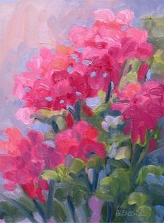 hot pink Watercolor Flowers | Hot Pink Geraniums, 6x8, oil/panel