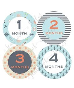 Nautical Baby Monthly Stickers 1 to 12 Months by SeabrookStyles