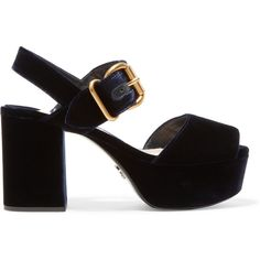 Prada Prada - Velvet Platform Sandals - Navy ($750) via Polyvore featuring shoes, sandals, navy blue sandals, velvet shoes, block heel shoes, navy shoes and navy blue platform sandals