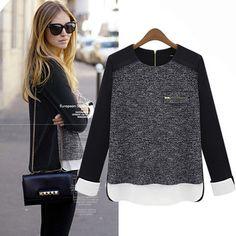 blusa, blusa feminina, China, roupas da China Long Sleeve Geometric Blouse, women shirt, produtos da China