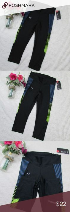 Under Armour Fly-By Running Capris Leggings Medium Item: New Women's Under Armour Fly-By Capris with Mesh Leg Panels Style: 1297934-005 Size: Medium / M Color: 005 / Black / Navy / Yellow (green) Condition: New with tags  Product Features: Material wicks sweat & dries really fast 4-way stretch construction moves better in every direction Anti-odor technology prevents the growth of odor-causing microbes Super-breathable mesh leg panels to dump excess heat Convenient secure zip storage pocket…