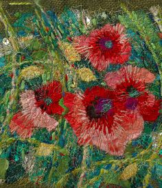 urban gardens- poppies collage and embroidery by Richard Box Free Motion Embroidery, Free Machine Embroidery, Embroidery Art, Embroidery Stitches, Ribbon Embroidery, Art Textile, Textile Artists, Thread Painting, Collage