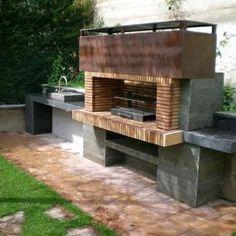Chimney in a box design. Outdoor Oven, Outdoor Fire, Outdoor Cooking, Outdoor Living, Outdoor Sheds, Backyard Kitchen, Outdoor Kitchen Design, Parrilla Exterior, Pergola Aluminium