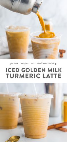 This iced golden milk turmeric latte is paleo and vegan, loaded with anti-inflam. This iced golden milk turmeric latte is paleo and vegan, loaded with anti-inflammatory turmeric and different historic, therapeutic spices. Juice Smoothie, Smoothie Drinks, Smoothie Recipes, Diet Drinks, Beverages, Food And Drinks, Milk Smoothies, Vegan Smoothies, Yummy Drinks