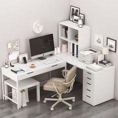 Room Design Bedroom, Room Ideas Bedroom, Home Room Design, Home Office Design, Home Office Decor, Bedroom Decor, Home Decor, White Desk Bedroom, Bedroom Brown