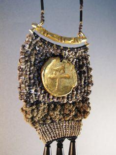 Boho textile pendant, tapestry jewelry, fringe necklace, bohemian jewelry, precious metal clay, ooak pendant, boho jewelry, statement piece