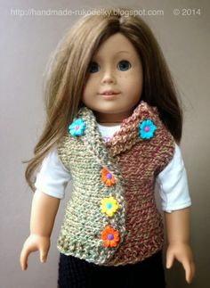 MY HAND MADE STUFF - MOJE RUKODELKY: Knitted Vest For American Girl Doll - Free Patern
