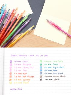 These gel pens feature a stylish, transparent body that is as smoothly flowing as its ink! Color Coding Notes, School Supplies, Craft Supplies, Gel Ink Pens, Jet Pens, Calligraphy Letters, Study Notes, Pen Sets, Study Motivation
