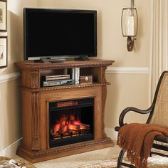 Stone electric fireplace entertainment center premium oak wall and corner centers faux highland firep Electric Fireplace Entertainment Center, Entertainment Center Decor, Entertainment Fireplace, Fireplace Heater, Faux Fireplace, Fireplace Ideas, Fireplace Modern, Fireplace Tools, Fireplace Inserts