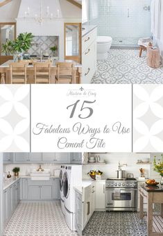 Cement Tile Trend is Hotter than Ever! Gorgeous cement tile inspiration--->The Cement Tile Trend is Hotter than Ever! Gorgeous cement tile inspiration---> Cement Tile & Patterned Tile Floors in the Bathroom French Country Interiors, Country Interior Design, French Farmhouse Decor, Farmhouse Style, Bathroom Trends, Kitchen Trends, Bathroom Interior, Bathroom Designs, Bathroom Ideas
