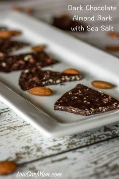 easy recipe for low carb dark chocolate almond bark with sea salt suited for both paleo and keto diets. It's also a great treat for diabetics. Dark Chocolate Almond Bark, Salted Chocolate, Low Carb Chocolate, Chocolate Desserts, Chocolate Chip Cookies, Sea Salt Chocolate, Low Carb Candy, Low Carb Sweets, Paleo Sweets