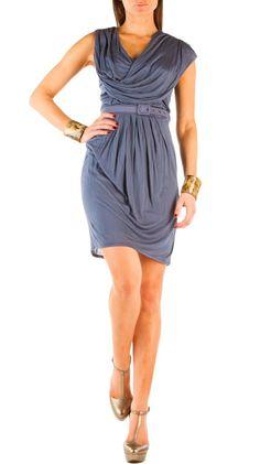 @Célia Tasca Cheney ...bridesmaid dress? Belted Drape Dress - Denim Blue