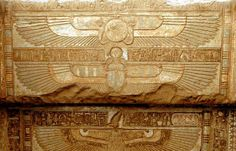 dwellerinthelibrary: In Hathor's temple at Dendera, the winged sun disc of Horus of Behdet, and a winged scarab pushing along the sun. (Presumably the vulture beneath them, wearing the white crown, is Nekhbet. Ancient Aliens, Ancient Art, Ancient Egypt, Ancient History, Egyptian Symbols, Egyptian Art, Epic Of Gilgamesh, The Hierophant, Inspirational Gifts
