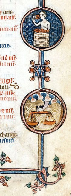 The Labours of the Months, September.  Medieval calendar illustrated by a man eating grapes and scales as Libra.  Book of Hours, 1300