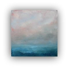 Before Dawn- Abstract Ocean Landscape Oil Painting on Canvas small 12x12 blue and grey fog clouds sky soft original palette knife painting