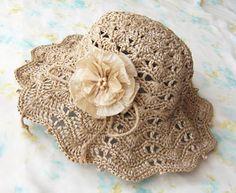 Summer crochet hat . Yarn-- Eco Andaria by Hamanaka.