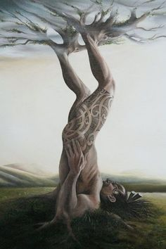 "Artist Jane Crisp's beautiful interpretation of Tane Mahuta | ""In the beginning before the world was light, Rangi the sky-father and Papa the earth-mother were bound together, their offspring caught in the darkness between them. Their strongest son, Tane Mahuta, put his shoulder to Papa and thrust upwards with his powerful legs, creating life and light."" (Maori legend)"