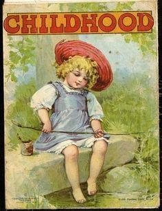 CHILDHOOD - Linen Book - FRANCES BRUNDAGE Illustrations - 1910