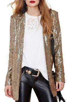 Lapel Solid Color Sequins Long Sleeve Blazer GOLDEN: Blazers | ZAFUL