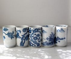 vintage Japanese tea cups Set of 5 Blue and by Luncheonettevintage