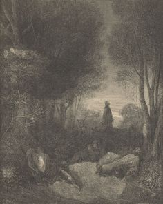 Jesus praying in the Garden of Gethsemane.Woodcuts by Gustave Doré Ancient Chinese Architecture, Bible Illustrations, Soul Art, Wood Engraving, Bible Art, French Artists, Antique Prints, Religious Art, Illustrators