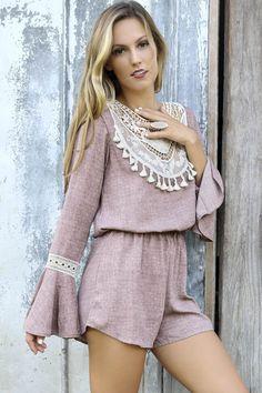 Boho Bliss Mauve Bell Sleeve Romper With Crochet Lace Bib & Keyhole Back