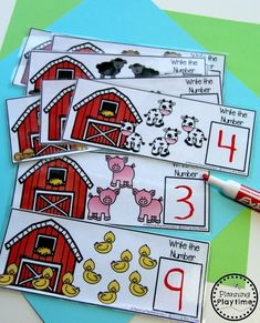 Fun Counting Activity for Kindergarten - Farm Animal Counting Farm Animals Preschool, Farm Animal Crafts, Preschool Themes, Preschool Printables, Farm Activities, Counting Activities, Animal Activities, Space Activities, Farm Lessons