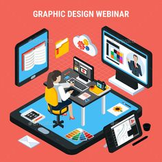 Buy Graphic Design Webinar Concept by macrovector on GraphicRiver. Woman studying at home watching graphic design webinar isometric concept vector illustration Online Graphic Design, Web Design, Science Des Données, Website Illustration, Online College Degrees, Isometric Design, Design Graphique, Vector Free, Sai Brushes