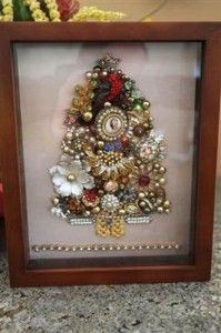 Vintage Estate Jewelry Shadowbox. Such a fantastic idea for those brooches you do not know what to do with.