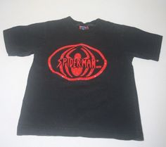 Boys Marvel Spider-Man Short Sleeve Shirt Black and Red Size XS 4-5 100% Cotton #Marvel #Everyday